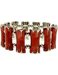 Acosta - rojo brillante - esmalte metálico de enlaces de moda de la pulsera del estiramiento (color plata) - caja de regalo
