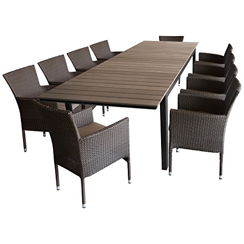 Multistore 2002 11tlg. Sitzgruppe Ausziehtisch Polywood-Tischplatte, 280/220x95cm + 10x Gartensessel Polyrattan Braun-Meliert, stapelbar, inkl. Kissen