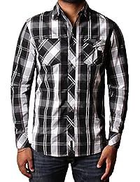 chemise à manches Hommes 100% coton district dissident pleine de damier