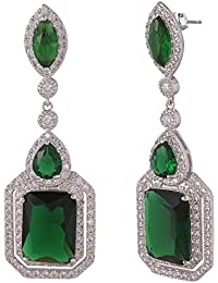 SHAZE Rhodium-Plated Green Glitz Earring |Earrings For Women|Earrings For Women Stylish