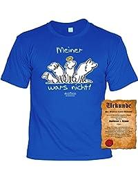 Hundeversteher T-Shirt Meiner wars nicht! - Veri Set Hunde T-Shirt und Urkunde - Cartoon Motiv aus dem Hundebesitzer Leben in royal-blau : )
