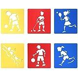 Trixes 6er Set Verschiedene Zeichenschablonen Sportarten für Kinder zum Scrapbooking oder Gruss- und Geburtstagskarten