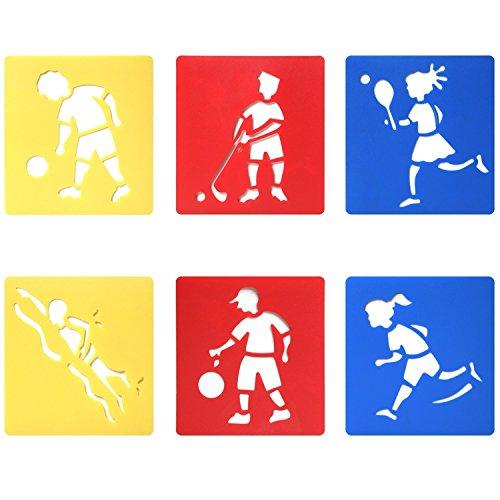 Trixes 6er Set Verschiedene Zeichenschablonen Sportarten für Kinder zum Scrapbooking oder Gruss- und Geburtstagskarten -