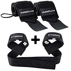 Fitgriff® wrist bandages + pulling aids (set) - for fitness, strength training & bodybuilding - for women and men