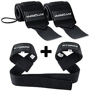 Fitgriff® Handgelenk Bandagen + Zughilfen (Set) – für Fitness, Krafttraining & Bodybuilding – für Frauen und Männer