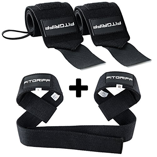 Fitgriff® Handgelenk Bandagen + Zughilfen (Set) - für Fitness, Krafttraining & Bodybuilding - für Frauen und Männer -