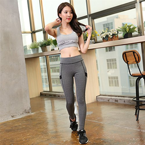 REALLION Femmes 3 Pièces Ensembles de Yoga (Vestes de sport + Soutiens-gorge de sport + Pantalon ) Sportswear à respirant, Hygroscopique et à Séchage Rapide Rose et Gris
