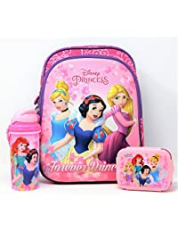 H M International Kid's Disney Junior 12-Inch 3D EVA Embossed Backpack With Lunch Box And Water Sipper Bottle