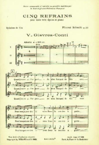 Schmitt: 5 Refrains Op.132, No.5 Gisvres-Conti (Choral (mixed Voices))