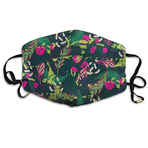 Tropical Plant Print Face Mouth Mask Unisex Polyester Comfy Anti Dust Masks Animal Print Tube