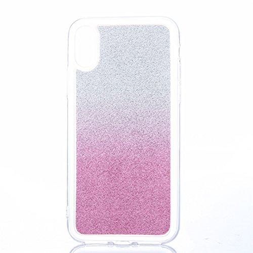 CaseforYou Hülle iphone X Schutz Gehäuse Hülse Ultra Slim Fit Glitter Gradient Soft TPU Phone Back Case Cover Protective Shell Schutzhülle für iphone X Handy (Light Blue) Pink