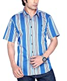 Moksh Men's Blue Striped Casual Shirt V2...
