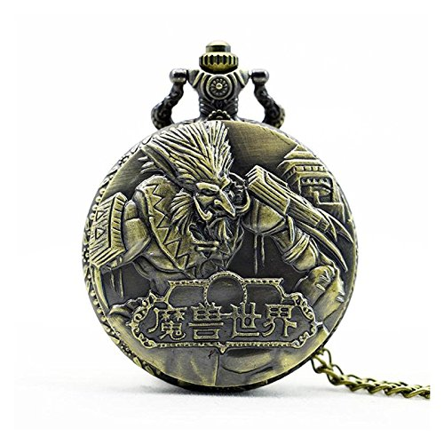 schnitzt antik bronze Effekt Retro/Vintage Case Herren Quarz-Taschenuhr Halskette–auf 81,3cm Zoll/80cm Kette (Designer Hand Taschen)