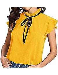 Gasa T-Shirt para Mujer Verano Suelto Camisa Tops Plisado Cuello Parado con  Cordones Blusa Volante Fruncido Manga del Casquillo Camiseta Color… 8289f57039c8