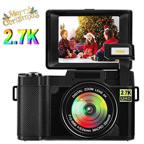 Appareil Photo Numérique Appareil Photo Vlogging Camera 24.0 MP 2.7K Ultra HD 3.0 Pouces Caméra avec Ecran de Poche Rétractable Lampe de Poche