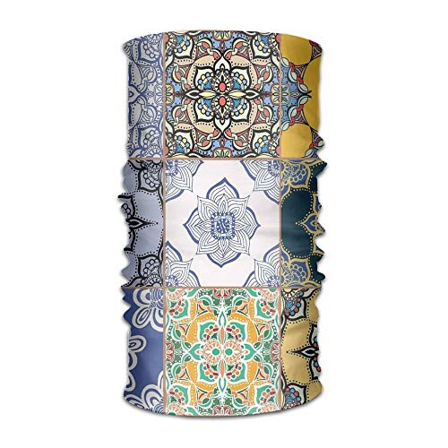 RAINNY Woman's Mans Turban Set of African and Portuguese Tile Patterns Various Tones and Textures Boho Print Campus Coverchief Apple-print-leggings