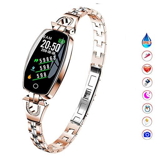 QUARKJK Fitness Tracker Damenuhr Smart Armband Herzfrequenz Blutdruckmessgerät Schrittzähler Wasserdichter Schrittzähler,Beige