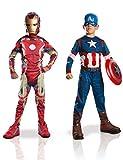 Marvel 155014s - Costumi per bambini, Set da 2 pezzi, Capitan America + Iron Man 2, S, 90-104 cm