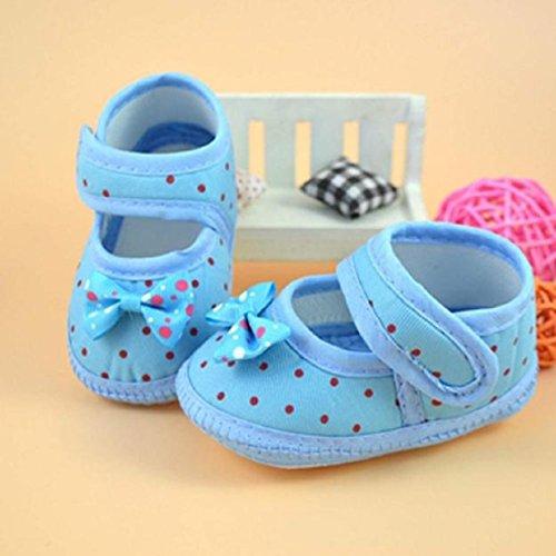 Chaussures de bébé,Transer ® 6 ~ 10 mois bébé Bowknot lit doux anti-dérapant chaussures Bleu