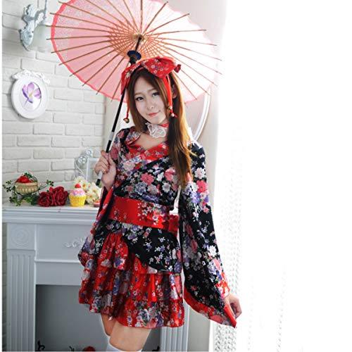 lütenfest Cosplay Kostüm Japanisches Kimono Mädchen Kostüm japanische Prinzessin Kleid,Black ()