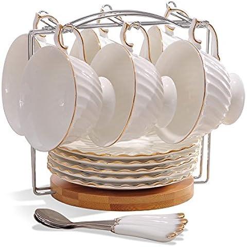 MSRRY In stile europeo bone china tazza da caffè kit sub-standard in ceramica tazze di tè inglese del pomeriggio, tè nero cup , filettatura set da 6 pezzi