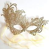 Oro maschera di carnevale pizzo veneziana ballo in maschera da donna - Renaissance