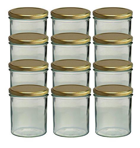 20 Sturzgläser 350 ml Marmeladengläser Einmachgläser Einweckgläser To 82 Gold