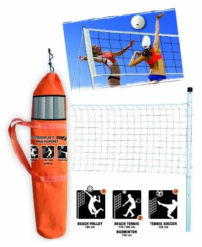 Set outdoor multisport, kit multisport contenente rete impermeabile altezza 220cm, paletti in acciaio per ancoraggio a terra o sulla sabbia con il massimo della sicurezza e kit delimitazione campo