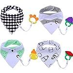 Fascigirl Baby Drool Bib, 4Pcs Baby Bandana Drool Double-layer Cotton Bibs with 4Pcs Teething Toys Gift Set and 4Pcs…