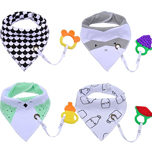 Baby Drool Bib, Fascigirl 4Pcs Baby Bandana Drool Double-layer Cotton Bibs with 4Pcs Teething Toys Gift Set and 4Pcs Pacifier Holder for Boys and Girls 512mmFwJe6L