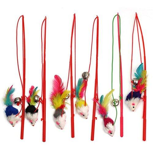 display08 Katzenglöckchen mit Kunstfeder, mit Seilzug, lustiges Spielzeug