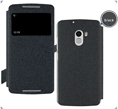 GoRogue Pudini Window PU Leather Slim Flip Case Cover with Convertible Back Stand For Lenovo K4 Note (Black)