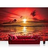 Vlies Fototapete 400x280 cm PREMIUM PLUS Wand Foto Tapete Wand Bild Vliestapete - Sonnenuntergang Tapete Meer Ebbe Wellen Strand Himmel Wolken Sonnenuntergang rot - no. 816