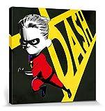 1art1 115470 Die Unglaublichen - 2, Flash Parr Poster Leinwandbild auf Keilrahmen 40 x 40 cm