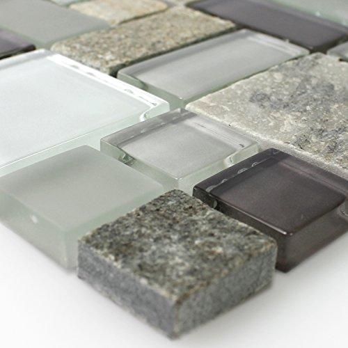 Mosaikfliesen Glas mit Naturstein Grau Braun