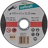 Wolfcraft 1668999 - Disco de corte para amoladora para aluminio, granel Ø 115 x 1,5 x 22,23 mm
