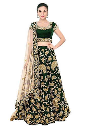 Indian Rang Women's Festival Wear Semi Stitched Velvet Green Colour Lehenga Choli