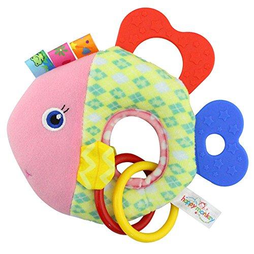 Baby Kleinkindspielzeug Stoffspielzeug Beißring Hand Rasseln Süße Tiere Klingel ab 2 Monate Geschenk,Fisch