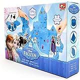 Disney Frozen Play Sand Set for Kids - Build Blue Coloured Kinetic Magic Sandbox Kit with Moulds & Tray - 1lb Castle Super Box Playset