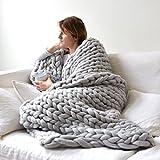 HOMYY Grobstrickdecke warme Kunstfell-Merinowolle, weiche Wolle dick, Arm, Handstricken, sperrige Sofa-Überwurfdecke, hellgrau, 100 x 120 cm