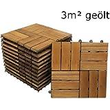SAM® Terrassenfliese 02 aus Akazien-Holz, FSC® 100 % zertifiziert, 33er Spar-Set für 3 m², Garten-Fliese in 30 x 30 cm, Bodenbelag mit Drainage, Klick-Fliesen für Balkon Terrasse Garten