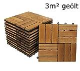 SAM Terrassenfliese 02 Akazien-Holz, FSC 100%, 33er Spar-Set für 3m², 30x30cm, Bodenbelag, Drainage, Klick-Fliesen