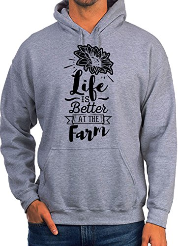 Life is Better at The Farm Funny Quote Design Grey Unisex Hoodie - Large e5803028b2c7