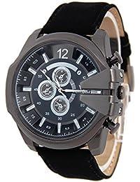 Reloj de pulsera - V6 Reloj de pulsera de cuero de imitacion de esfera para hombres(correa negro y caja negra)