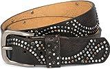 styleBREAKER Vintage Nietengürtel mit glitzerndem Strass und Nieten in runder Anordnung, Damen 03010066, Farbe:Dunkelbraun;Größe:100cm