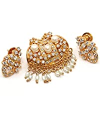 Silvestoo India Cubic Zircon & Pearl Gold Plated Pendant & Earring Set For Women & Girls PG-113160