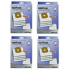 véritable Nilfisk Power P10P20P40Allergie PW10PW20Chiffon Aspirateur SACS + Filtre (4paquets)