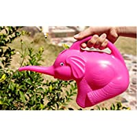 Gwill Plastic Pink Elephant Watering Can Easy Pour Small Size 2 Quart 1/2 Gallon Pot Jug Home Garden Patio Lawn Gardening Tool Plant Outdoor Watering Supplies