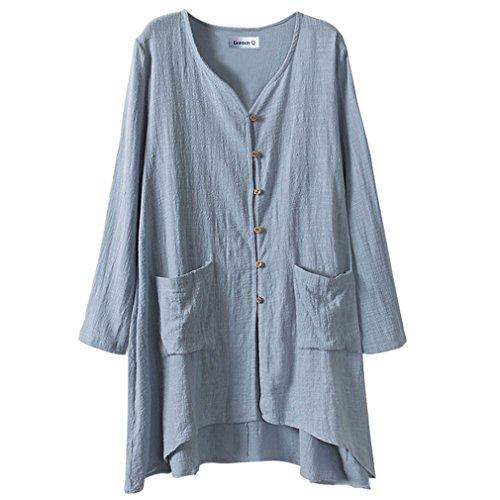 Blusa larga de mujer, de lino, con botones cómodos, talla grande, de la marca Gordon Q Azul azul 48
