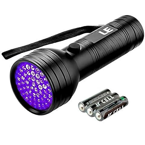 LE Lampe Torche UV 51 LED 395nm Ultraviolet 3 piles AA incluses, Lampe de Poche, Blacklight, Rétroéclairage Lampe pour Eclairer Usine des Animaux Tâches